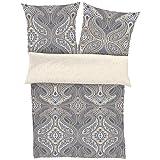 Hochwertige Mako - Satinbettwäsche Bettwäsche Set Bettgarnitur der Marke Zeitgeist von Ibena 135x200cm + Kopfkissen 80 x 80 cm mit wunderschöner Ornamentik in grau beige