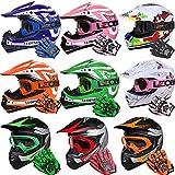 Leopard LEO-X19 {Rot Kinder Motorrad Helm L(53-54cm) +Handschuhe L-7cm + Brille} Kinder Motorradhelm Full Face MX Helmet Mädchen Jungen Dirt Bike