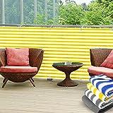Balkon Sichtschutz UV-Schutz | 90x500cm | wetterbeständiges und pflegeleichtes HDPE-Spezialgewebe | gelb-weiß gestreift
