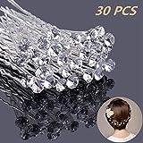 30 Stück Haarnadeln mit Kristall für Hochzeit Braut Haarschmuck, U-förmig Strass Haarnadel für Kommunion Party, Haarspange Für Frauen und Mädchen