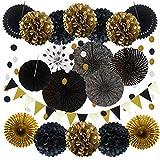 Partydekoration, 21 Stück schwarz und Gold hängende Papierfächer, Pom Poms Blumen, Girlanden String Polka Dot und Dreieck Bunting Flaggen für Geburtstagsfeiern Hochzeit Dekor, Tisch & Wanddekorationen