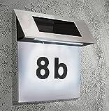 Hausnummer Solar 4 x led Solarleuchte Solarhausnummer Edelstahl #295