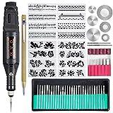 Uolor 70 Pcs Gravierwerkzeug Gravur-Tool-Kit, Multifunktionale Elektrische Gravurstift DIY Drehwerkzeug für Schmuck Metall Glas Keramik Holz Kunststoff mit Scribe, 52 Bits und 16 Schablonen