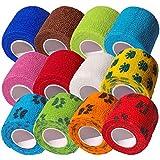 CK-Shop 12er Pack Selbstklebender Verband für Haustiere, Kohäsive Fixierbinde, elastischer Fixierverband, Haftbandage - 5 cm x 4.5m [12er Pack]