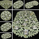 Margerite Kamille Tischläufer/Tischdecke grün mit weißen Blumen Stickerei - Größe wählbar (ca. 35 x 70 cm Oval)