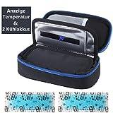 Insulin kühltasche Diabetiker Tasche Medikamenten Kühltasche für Diabetikerzubehör mit Kühlakkus (Schwarz)