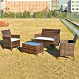 Merax Polyrattan Loungeset Gartenset Gartenmöbel Sitzgruppe Gartentisch 4-teiliges Lounge Set Balkon in Rattanoptik (Braun)