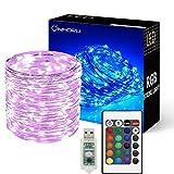 Onforu 10M USB LED Lichterkette RGB | 100er LED Silberdraht Lichterketten mit Fernbedienung | IP65 Wasserfest | 16 Farbe 4 Modi für Innen- und Außenbeleuchtung, Hochzeit, Weihnachten, Party und Haus Deko etc.