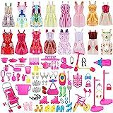 ASANMU 130 Stücke Zubehör für Barbie Kleider Set, Puppenkleidung Zubehör für Barbie-Kleidung Puppen Schuhe Kleid Dress für Puppen Doll - Geburtstag Party Weihnachten Geschenke für Mädchen Kinder