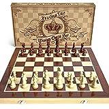aGreatLife Holz - Schachspiel: Universales Standard Holz Schachbrettspielsatz - Handgefertigte mit 15-Zoll Brett und Mit Magnetverschluss - Perfektes Anfänger - Schachspiel für Kinder