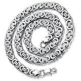 Flongo Herrenkette, 9mm Breit Edelstahl Halskette Königskette Kette Silber 57cm Herrschsüchtig Rau Punk Rock Herren Männer