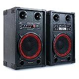 Fenton SPB-10 • PA Lautsprecher Set • Aktiv und Passiv Box • 600 Watt max. an 8 Ohm • 25cm (10')-Subwoofer • 2-Band-Equalizer • USB-Port • SD-Slot • 2 x 6,3 mm-Klinke-Mic-In • Cinch-Line-In • schwarz