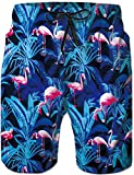 Rave on Friday Herren Badeshort Blauer Flamingo Sommer Cool Schwimmhose Schnelltrocknend Elastizität Strand Surf Board Shorts XXL