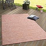Paco Home In- & Outdoor Flachgewebe Teppich Terrassen Teppiche Farbverlauf In Terracotta, Grösse:160x220 cm