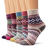 Wollesocken Damen Socken, Moliker Winter Socken 5 Paar atmungsaktiv warm weich bunte Farbe Premium Qualität klimaregulierende Wirkung (5005)