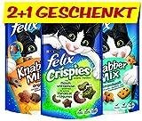 Felix KnabberMix und Crispies I Katzenleckerlies, 12 Stück + 6 gratis, 6 x (2 x 60g + 45g)
