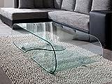 Glastisch Couchtisch auf Rollen, Länge 90 cm, Glasdesign