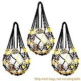3 Stück Robust Ballnetz 1 Ball, Multifunktionale Balltragenetz passend für verschiedene Ballgrößen [Fußball - Volleyball - Basketball - Medizinball] - leicht und bequem (Schwarz + Gelb)