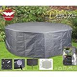 Deluxe Schutzhülle für runde Garten-Sitzgruppe, 320x93 cm, Polyester 420D • Sitzgruppe rund Gartenmöbel Schutz Hülle Abdeckung Tragetasche Plane