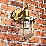 Premium Außenwandleuchte Messing echt rostfrei rustikal massiv Rillenglas Käfigschirm Wandlampe Terrasse Hauswand