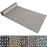 Teppich Läufer Carlton | Flachgewebe dezent gemustert | Teppichläufer in vielen Größen | als Küchenläufer, Flurläufer | mit Stufenmatten kombinierbar (Grau-Beige - 80x250 cm)