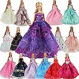 5er Packung Handmade Modisch Hochzeit Party Abendkleid Kleider & Kleidung für Barbie-puppe Weihnachten Geschenk