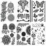 Pinkiou Satz von 6 Blatt-Tätowierungs-Aufkleber-Spitze Mehndi temporäre Tätowierungs-Art- und Weisekörper-Kunst-Aufkleber (Schwarzes)