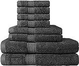 Handtuchset; 2 Badetücher, 2 händehandtuch und 4 Waschlappen - von Utopia Towels (Grau)