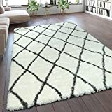 Paco Home Hochflor Teppich Kuschelig Modern Shaggy Flokati Stil Rauten Muster Creme, Grösse:160x230 cm