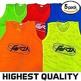 Net World Sports Trainings Netzwesten/Trainings-Leibchen/Trainingsleibchen, 5er Pack, in Vier Größen und 5 Farben (Erwachsene, leuchtendes Grün)