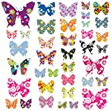 Decowall DW-1201 38 Farbige Schmetterlinge Tiere Wandtattoo Wandsticker Wandaufkleber Wanddeko für Wohnzimmer Schlafzimmer Kinderzimmer