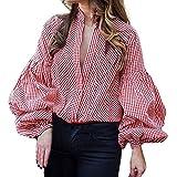 Bluse Damen Pullover Laterne Ärmel Pullover Frauen Lässige Shirt Lange Ärmel T-Shirt Knopf Plaid Hemd Oberteile Sweatshirt Loose Tops Bluse,ABsoar