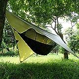 XISHUAI Camping Hängematte Outdoor mit Moskitonetz und Wasserdicht Plane Ultra-Licht Atmungsaktiv, Schnell Trocknende Fallschirm Nylon Camping Hängematte Field Survival Set