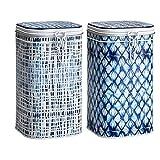 Eigenart 2er Set Vorratsdosen, Teedosen Indigo für 500g H. 20cm weiß Blau