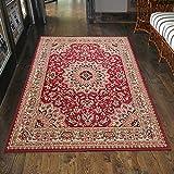 Klassischer Orientteppich & Perserteppich mit Orientalisch Ornamente Mandala Muster Kurzflor in Beige Rot / TOP Preis - ÖKO TEX (120 x 170 cm)