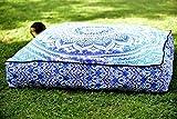 Aakriti Gallery schöner quadratischer Mandala-Kissenbezug, Meditationskissen, Sitzplatz, Überwurf, Bezug, dekorativ, Bohemian-Boho-Indisch, nur der Bezug (89 cm). Blue Ombre