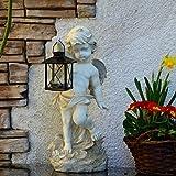 Gartenengel mit Laterne 38cm Grablicht Grab-Schmuck Grablampe Grableuchte Grabengel Engel