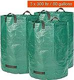 Gartenabfallsack 3 x 300 Liter - 3 Premium Gartensäcke XXL- Stabile Gartenabfallsäcke aus Extrem Robustem Polypropylen-Gewebe (PP) 150gsm - Selbststehend und Faltbar Laubsäcke von GloryTec
