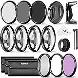 Neewer 52MM Professionelle Komplette Objektiv-Filter Zubehörsatz für Nikon D3300 D3200 D3100 D3000 D5300 D5200 D5100 D5000 D7000 D7100 DSLR-Kamera, Set umfasst: (1) Filterset (UV, CPL, FLD) + (1) Makro Nahaufnahme Filter Set (+ 1, +2, +4, +10) + (1) Graufilter Set (ND2, ND4, ND8) + (1) 3-in-1 Faltbare Sonnenblende + (1) Tulpen Lichtblende + (1) Schnapp -on Objektivdeckel + (1) Kappe Wächter Leine + (3) Filter Tragebeutel + (1) Mikrofaser Reinigungstuch
