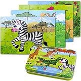 Holzpuzzles Spielzeug ,64PCS Puzzle aus Holz ,Vier schwierigkeitsgrade Lernspielzeug Spiel für Kinder 3 4 5 Jahren Alt (Giraffe, Krokodil, Zebra, Känguru) , Metallkoffer Box.