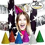 20Stk. Partyhütchen Bunt für Erwachsene und Kinder - Glitzernde Papphüte mit Gummizug in bunten Farben für Silvester, Geburtstag, Karneval & Co.