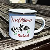 Cadouri - Camping-Tasse mit Spruch GIPFELSTÜRMER Kaffeetasse Kaffeebecher Emaille-Tasse Campingbecher  personalisiert  mit Wunschname - 300 ml