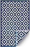 FH Home Indoor/Outdoor recyceltem Kunststoff Bodenmatte/Teppich - reversibel - Wetter und UV-beständig - Aztec - Grey/White (180 cm x 270 cm)