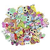 Bluelans Knöpfe für Kinder Kinderknöpfe Holzknöpfe Knopf Scrapbooking Mischung aus 50 Holzknöpfen in Tierform