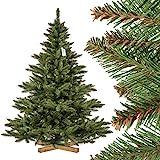 FairyTrees künstlicher Weihnachtsbaum NORDMANNTANNE, grüner Stamm, Material PVC, inkl. Holzständer, 180cm, FT14-180