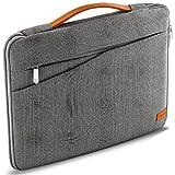 deleyCON Notebook-Tasche für Macbook Laptop bis 15,6' (39,62cm) Schutztasche aus robustem Nylon 2 Zubehörfächer verstärkte Polsterwände - Grau