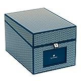 Semikolon (354864) CD und Fotobox Seigaiha-Muster marine (blau) | Sammel-Box und Aufbewahrungsbox mit 5 Registerkarten | 17,7 x 15,7 x 25,6 cm