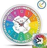 Funtini Kinderuhr-Set lautlos   Wanduhr Ø30cm mit Spielzeug-Lernuhr zum Uhr lesen lernen   Geschenk-Idee: Kinderwanduhr groß und bunt für Jungen & Mädchen   Kinderzimmer Uhren-Set ohne Ticken