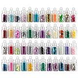 48 x Nailart Fläschchen mit Microperlen Pailetten Fimo Rauten Sterne uvm. in schönen Farben