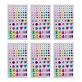 Joyshare 6 Blätter Selbstklebend Rhinestone Strasssteine Aufkleber Bling Handwerk Juwel Kristall Edelstein Aufkleber, Mehrfarbig, Sortierte Größe